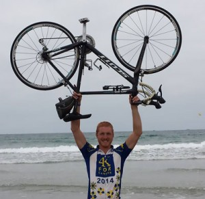 Buchanan celebrates completing his trek from Baltimore to San Diego.