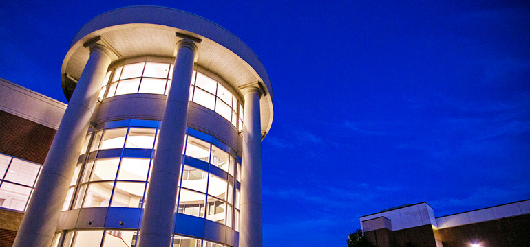Rotunda with night blue sky