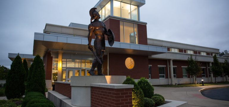 MBU Spartan Statue at Dusk